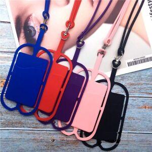 Neck Strap Lanyard silicone Universal Mobile Phone Holder Card holder