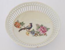 VINTAGE FRUIT BOWL, DECORATED WITH ROSES AND BIRD S10