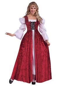 Renaissance Peasant Over Dress Burgundy Velour Lace Front Open Gown
