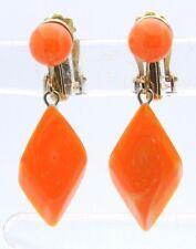 Vintage Gold Tone Orange Cream Swirl Dangle Geometric Plastic Clip Earrings
