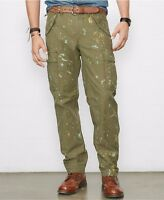 Polo Ralph Lauren Denim & Supply Mens Slim Fit Green Artist Paint Cargo Pants
