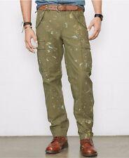 Polo Ralph Lauren Denim & Supply Mens Slim Fit Green Artist Paint Cargo Pants Regular 32 34