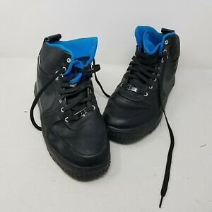 Nike Lunar Force 1 Duckboot Leather Black & Blue Athletic Shoes Sneakers Mens 10