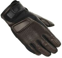 Spidi Garage Cafe Race Motorcycle Motorbike Leather Suede Textile Gloves Brown