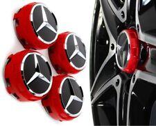 4 Tappi Coprimozzo Mercedes AMG Classe A B C CLA CLS Cerchi in Lega 75mm Rossi