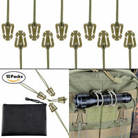 Pack of 10 OD Green Tactical Gear Clip for Molle Web & Hydration Tube with Pouch