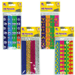 12 x Childrens Character Pencils Party Bag Fillers HB Eraser Topper Writing
