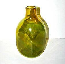 Vase moderniste Verrier Claude Morin Dieulefit en verre soufflé vert signé 1960