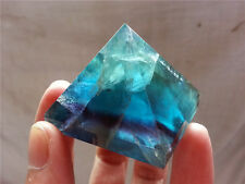 99.7G Natural green & blue&purple fluorite crystal  pyramid polishing Y2838