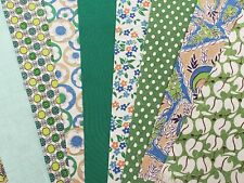 """BEST 20 Vintage ALL GREEN Feedsack Fabric Quilt  5 x 8"""" Charms Flour Sack Pcs"""