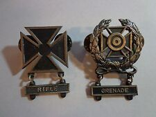 & Grenade Military Metal Pin Ww Ii 1/20 Sterling Filled Rifle