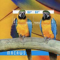 Tuvalu 2014 MNH Macaws 2v S/S II Birds Parrots Stamps