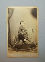 Old Antique Vtg 19th C 1860s CDV Photo Young Boy Large Rocking Horse Very Nice