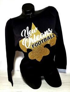 New Orleans Football! Black Scoop Neck Raw Edge Lt. Wt.Jersey 3/4 Slv~Go Saints!
