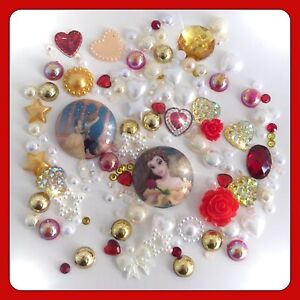 Disney Beauty and the Beast Theme Cabochon pearl flatbacks for decoden crafts #1