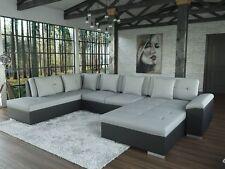 Sofa Alimia Schwarz/Grau - Ecksofa von Jalano Wohnlandschaft U-Form Couch XXL