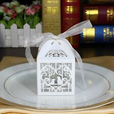 10 pcs Laser Cut White Love Birds Party Candy/Favor Box