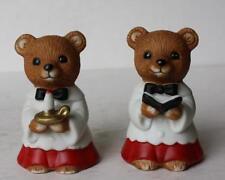 Teddy Bear 2 Christmas Caroler Robes Figurines Homco Sri Lanka 5100 Porcelain