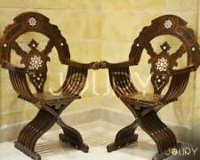 Hand Curved Wooden Folding Chair Syrian Moroccan furniture inlay with pearls