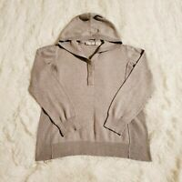 Liz Claiborne Hooded Pullover Sweater Heather Gray Women's Size Large Cotton