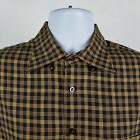 Scott Barber Mens Brown Black Check Plaid L/S Dress Button Shirt Size Large