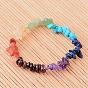 Natural Mens Ladies Mix Gemstone Chip Stretch Bracelet Chakra Healing UK