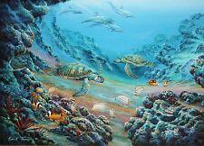 ROBERT THOMAS-Hawaii Artist-Original Signed Oil-Sea Turtles, Dolphins & Fish