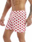 US Mens Love Heart Print Short Pants Classic Soft Boxer Trunks Gym Lounge Shorts