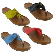Flat Toe Post Summer Holiday Womens Sandals Soft Light Casual Shoes UK3-9