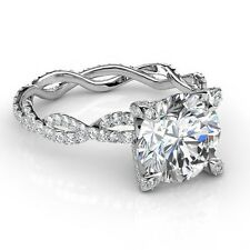 2.2 Ct. Natural Round Cut Diamond Twisted Eternity Pave Engagement Ring - EGL
