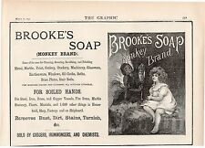 ORIGINAL OLD BROOKES SOAP MONKEY BRAND ANTIQUE ADVERT 1890 MONKEY & LITTLE GIRL