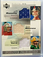 Joe Montana Brett Favre Eli Manning 2004 Upper Deck Finite HG Fabrics #FF3-MMF