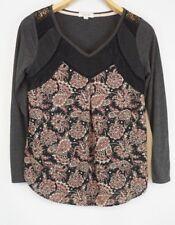Anthropologie Taylor & Sage Blouse Lace Floral Print Long Sleeve Boho Size M