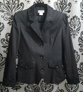 Black Single Breasted 3-BUTTON SUIT BLAZER JACKET Cotton Jacquard Womens Med/40