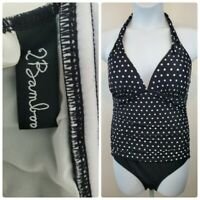 2 Bamboo Size XL Retro Black White Dot Halter One Piece Swimsuit NWOT