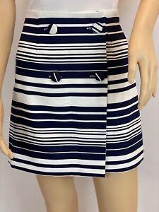 Lola May Navy White Striped Mini Wrap Skirt Size 6