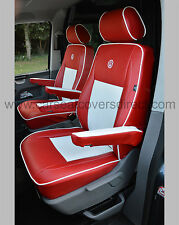 Volkwagen VW Transporter T5 Van Seat Covers (Captain Seats) - Red & White