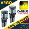 T10 501 Led Amber Bright Bulbs Canbus Side Light W5w 5 Smd Super Xenon Interior