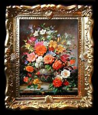 FLORAL DOLLS HOUSE MINIATURE PICTURE / WALL ART- BY SYLVIA ROSE No.409