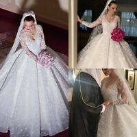 White Tulle Lace A-line Long Sleeve Princess Bridal Evening Formal Wedding Dress