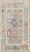 Geometric Floral Vegetable Dye Authentic Ushak Turkish Area Rug Hand-knotted 4x6