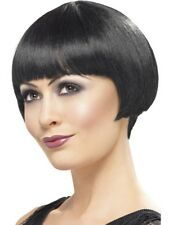 1920s Black Flapper Bob Costume Wig Great Gatsby Cabaret Burlesque Wig