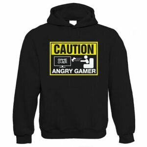 Caution Angry Gamer, Mens Funny Video Game Hoodie
