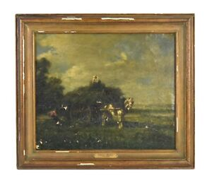 Emile Jacque French Barbizon Painting Farmers Loading Horse Drawn Hay Wagon asis