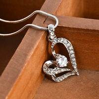 Women's Crystal Heart Rhinestone Silver Chain Pendant Necklace Jewelry Fashion