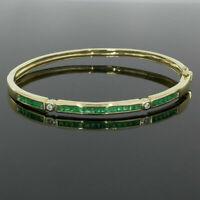 Women Bangle Bracelet 3 Ct Princess Cut Emerald Diamond 14K Yellow Gold Finish
