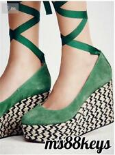 NIB Free People $138 FP CHARADE ESPADRILLE WEDGE Shoes Sandals Platform SIZE 38