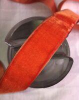 "10y bolt vtg scarlet Orange velvet Swiss 7/8"" rayon ribbon trim Millinery dress"