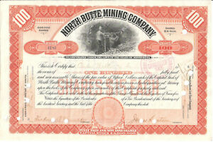 North Butte Mining Company, Minnesota 1905, 100 shares, Paine Webber & Co.
