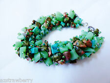 Hand crfated Jade Malachite Unakite Nugget Bracelet
